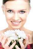 Beauty woman portrait with camomile flower Royalty Free Stock Images