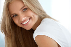 Beauty Woman Portrait. Girl With Beautiful Face Smiling. Beauty Woman Portrait. Closeup Of Beautiful Happy Girl With Perfect Smile, White Teeth Smiling At Camera Stock Image