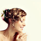 Beauty woman portrait, hairstyle with flowers Royalty Free Stock Photos