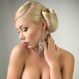 Beauty woman portrait with hairstyle and make-up Royalty Free Stock Images