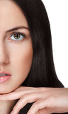 Beauty woman portrait half-face close-up on white Stock Photography
