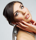 Beauty woman portrait . Isolated female model . Close up face. Royalty Free Stock Photography
