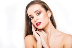 Beauty Woman Portrait. Professional Makeup for Brunette with Blue eyes - Red Lipstick, Smoky Eyes. Beautiful Fashion Model Girl. P. Erfect Skin. Make up isolated Royalty Free Stock Photography