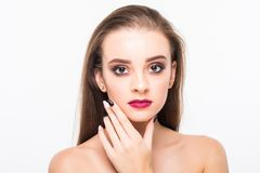 Beauty Woman Portrait. Professional Makeup for Brunette with Blue eyes - Red Lipstick, Smoky Eyes. Beautiful Fashion Model Girl. P. Erfect Skin. Make up isolated Stock Image