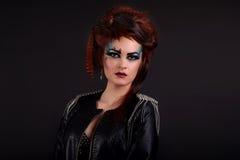 Beauty Woman Portrait. Professional Makeup for Brunette - Red Li Stock Image