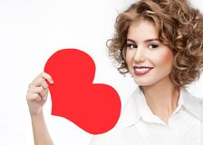 Beauty woman portrait red heart valentine`s love royalty free stock photography