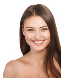 Beauty woman portrait of teen girl beautiful cheerful enjoying with long brown hair and clean skin isolated on white background Royalty Free Stock Photos