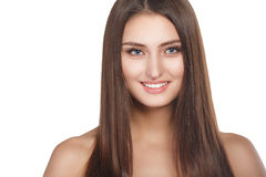 Beauty woman portrait of teen girl beautiful cheerful enjoying with long brown hair and clean skin isolated on white background Stock Image