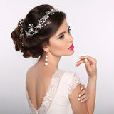Beauty woman portrait. Wedding Hairstyle. Beautiful fashion brid Royalty Free Stock Photo