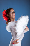 Beauty woman portrait in white flamenco costume Royalty Free Stock Photography
