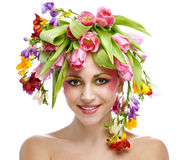 Beauty woman portrait with wreath Royalty Free Stock Photos