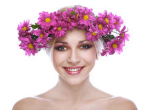 Beauty woman portrait with wreath Stock Images