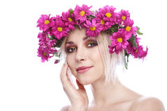 Beauty woman portrait with wreath Royalty Free Stock Images