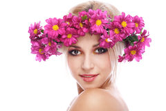 Beauty woman portrait with wreath Stock Photography