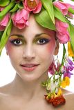 Beauty woman portrait with wreath Stock Photos