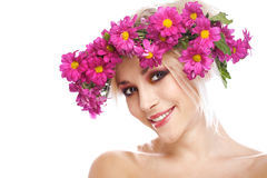 Beauty woman portrait with wreath from flowers Royalty Free Stock Photo