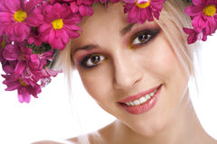 Beauty woman portrait with wreath from flowers Stock Photography