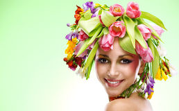 Beauty woman portrait with wreath from flowers Stock Image