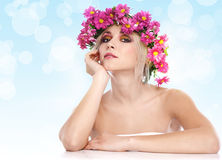 Beauty woman portrait with wreath from flowers Royalty Free Stock Photos