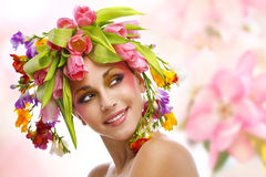 Beauty woman portrait with wreath from flowers Stock Images
