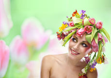 Beauty woman portrait with wreath from flowers Stock Photo