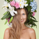 Beauty woman with flower wreath on head Stock Images