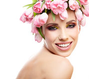 Beauty woman portrait with wreath from flowers on head over whit Royalty Free Stock Photos
