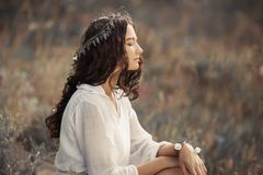 Beauty woman portret on nature stock photography
