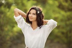 Beauty woman portret on nature stock photos