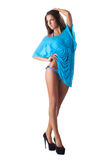 Beauty woman posing in blue bikini and cape Royalty Free Stock Images