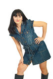 Beauty woman posing in denim dress Stock Photo