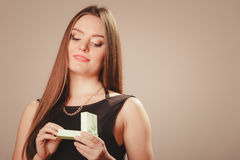 Beauty woman with present Royalty Free Stock Photo