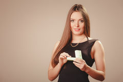 Beauty woman with present Stock Image