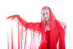 beauty woman in red fabric Royalty Free Stock Photography