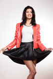 Beauty woman in red jacket Royalty Free Stock Images