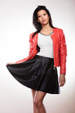 Beauty woman in red jacket Stock Photo