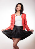 Beauty woman in red jacket Stock Photos