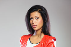 Beauty woman in red jacket Royalty Free Stock Photo