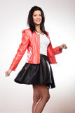 Beauty woman in red jacket Royalty Free Stock Photos