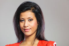 Beauty woman in red jacket Stock Image