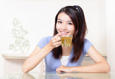 Beauty woman relax drink tea with home background Royalty Free Stock Photography