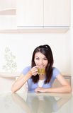 Beauty woman relax drink tea with home background Stock Images