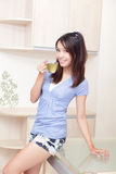 Beauty woman relax drink tea with home background Stock Photography