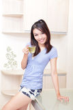 Beauty woman relax drink tea with home background Royalty Free Stock Photos