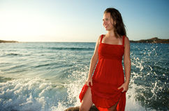 Beauty woman relaxing on the beach Royalty Free Stock Photo