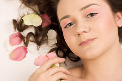 Beauty woman with rose Stock Images