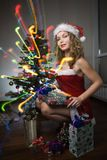 Beauty woman in santa hat Royalty Free Stock Photos