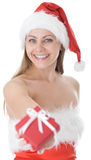 Beauty woman in  Santa hat with present Stock Image