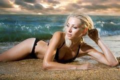 Beauty woman on sea royalty free stock photo