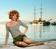 Beauty woman on sea royalty free stock images